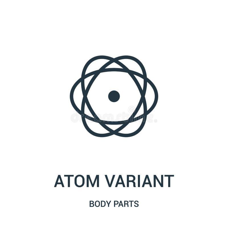 atomu warianta ikony wektor od części ciałych inkasowych Cienka kreskowa atomu warianta konturu ikony wektoru ilustracja ilustracja wektor