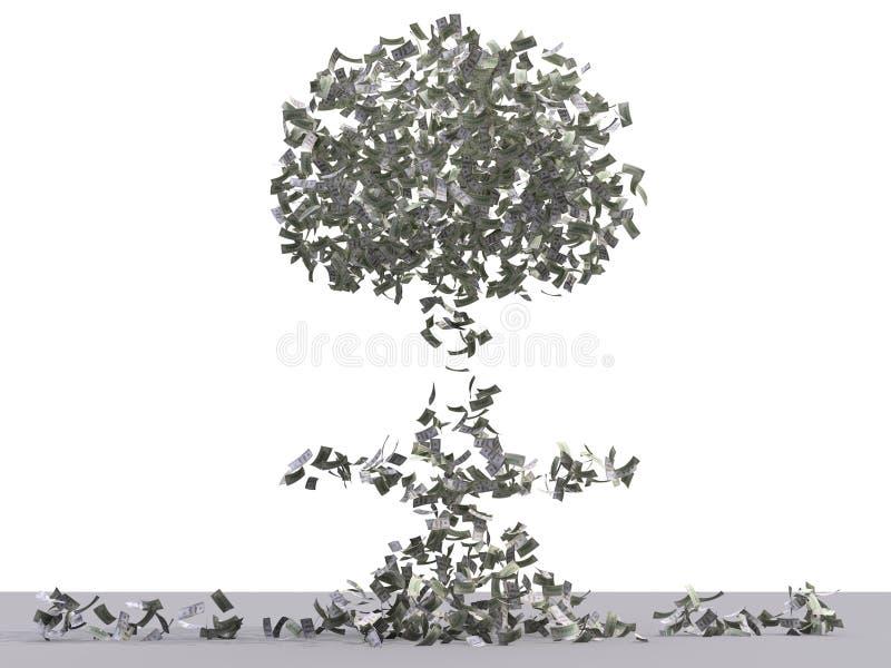 Atoom dollarexplosie met het knippen van weg stock afbeelding