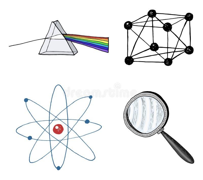Atoom en prisma, meer magnifier en kristalrooster gegraveerde die hand in oude schets en uitstekende symbolen wordt getrokken ber royalty-vrije illustratie