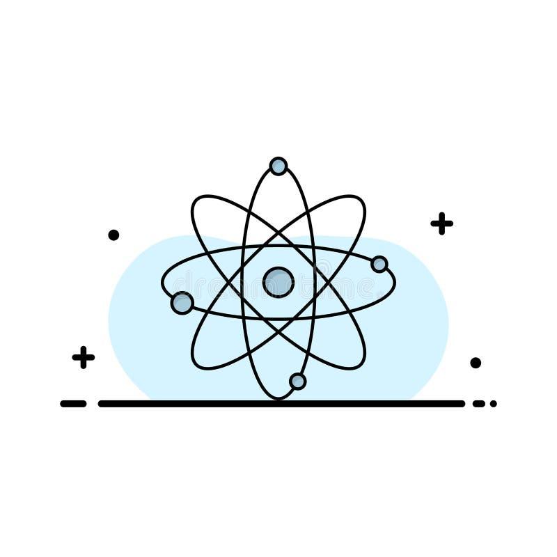 atoom, kern, molecule, chemie, het Pictogramvector van de wetenschaps Vlakke Kleur vector illustratie