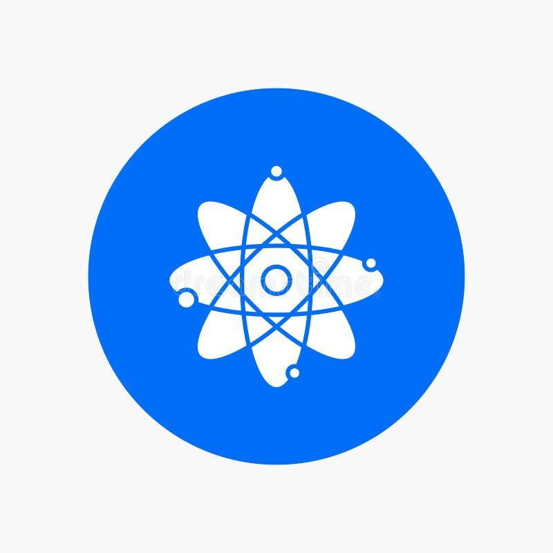 atoom, kern, molecule, chemie, Pictogram van wetenschaps het Witte Glyph in Cirkel Vectorknoopillustratie stock illustratie