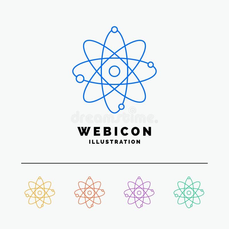 atoom, kern, molecule, chemie, wetenschap 5 het Pictogrammalplaatje van het Rassenbarrièreweb op wit wordt geïsoleerd dat Vector  vector illustratie