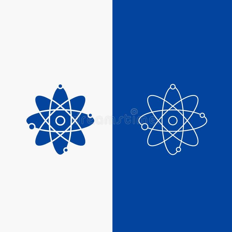 atoom, kern, molecule, chemie, wetenschapslijn en Glyph-Webknoop in Blauwe kleuren Verticale Banner voor UI en UX, website of vector illustratie