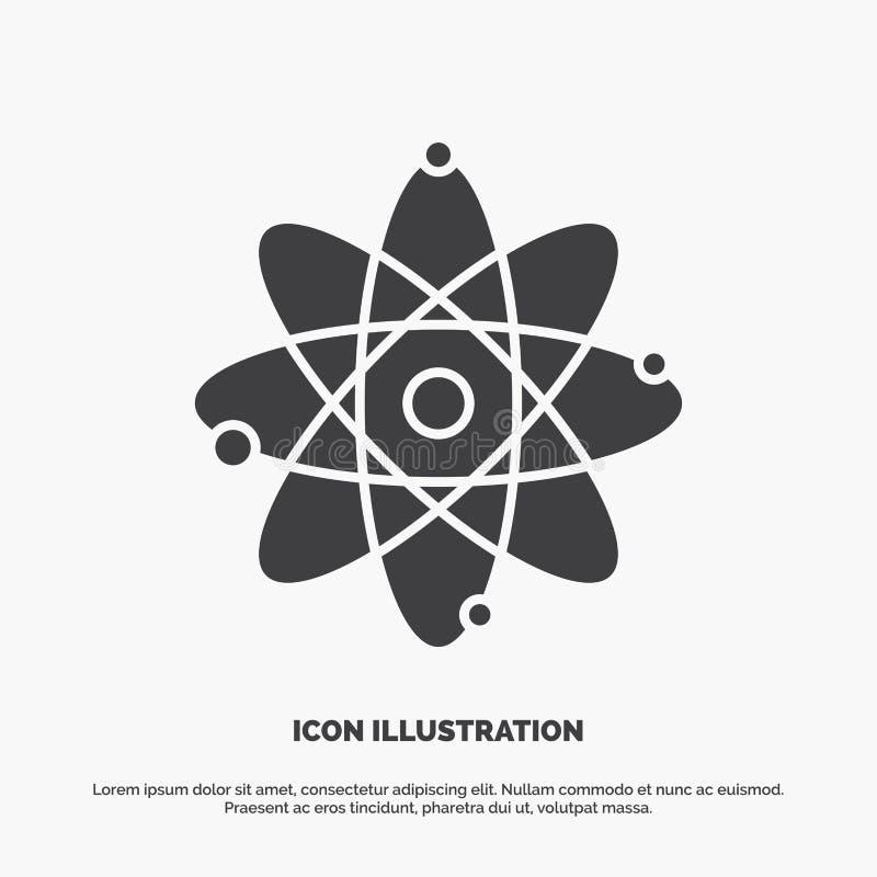 atoom, kern, molecule, chemie, wetenschapspictogram glyph vector grijs symbool voor UI en UX, website of mobiele toepassing royalty-vrije illustratie