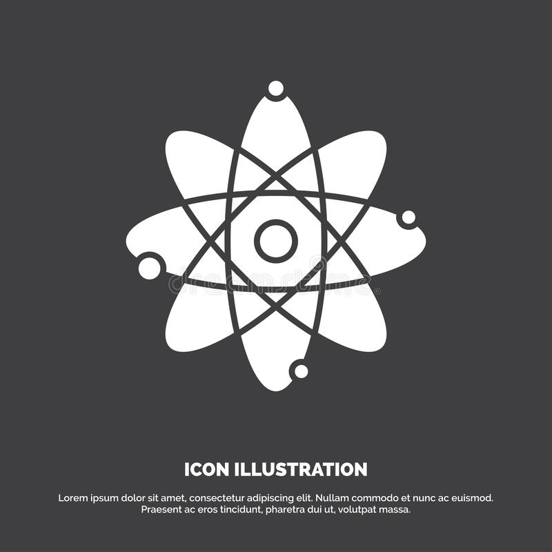 atoom, kern, molecule, chemie, wetenschapspictogram glyph vectorsymbool voor UI en UX, website of mobiele toepassing vector illustratie