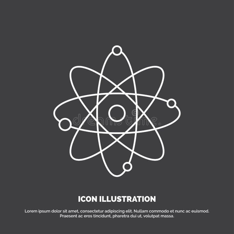 atoom, kern, molecule, chemie, wetenschapspictogram Lijn vectorsymbool voor UI en UX, website of mobiele toepassing royalty-vrije illustratie