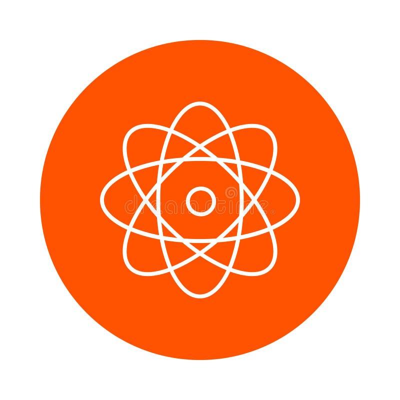 Atoom met roterende elektronen, cirkellijnpictogram, eenvoudige kleurenverandering, vlakke stijl vector illustratie