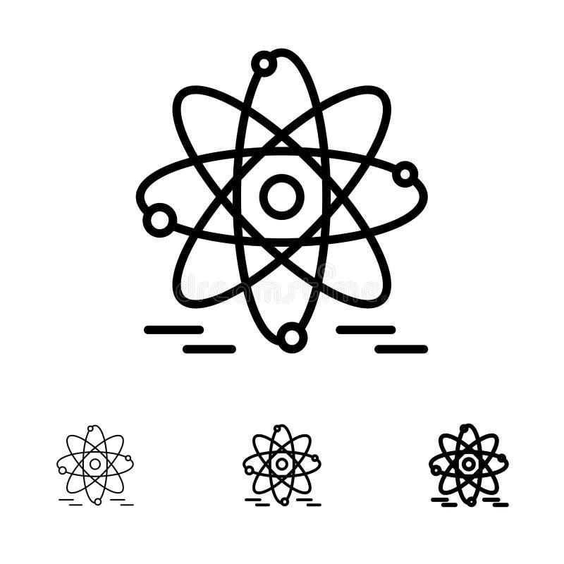 Atoom, Onderwijs, de Kern Gewaagde en dunne zwarte reeks van het lijnpictogram stock illustratie