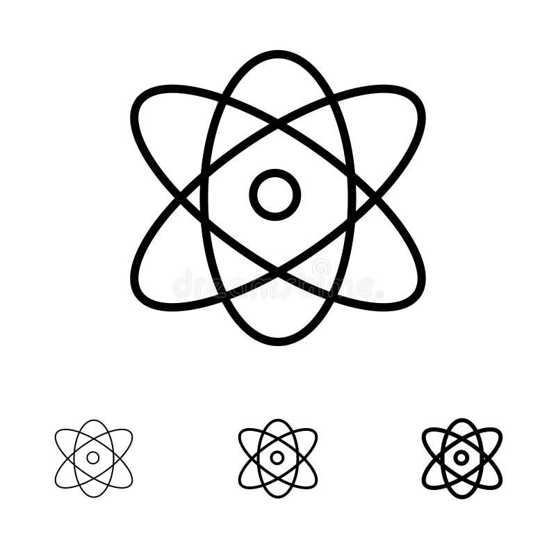 Atoom, Onderwijs, Fysica, het pictogramreeks van de Wetenschaps Gewaagde en dunne zwarte lijn royalty-vrije illustratie