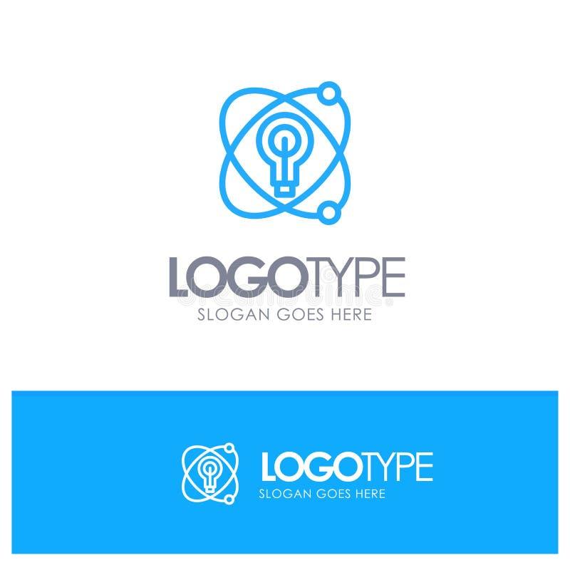 Atoom, Onderwijs, Kern, Bol Blauw Logo Line Style stock illustratie
