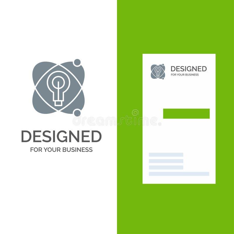 Atoom, Onderwijs, Kern, Bol Grey Logo Design en Visitekaartjemalplaatje vector illustratie