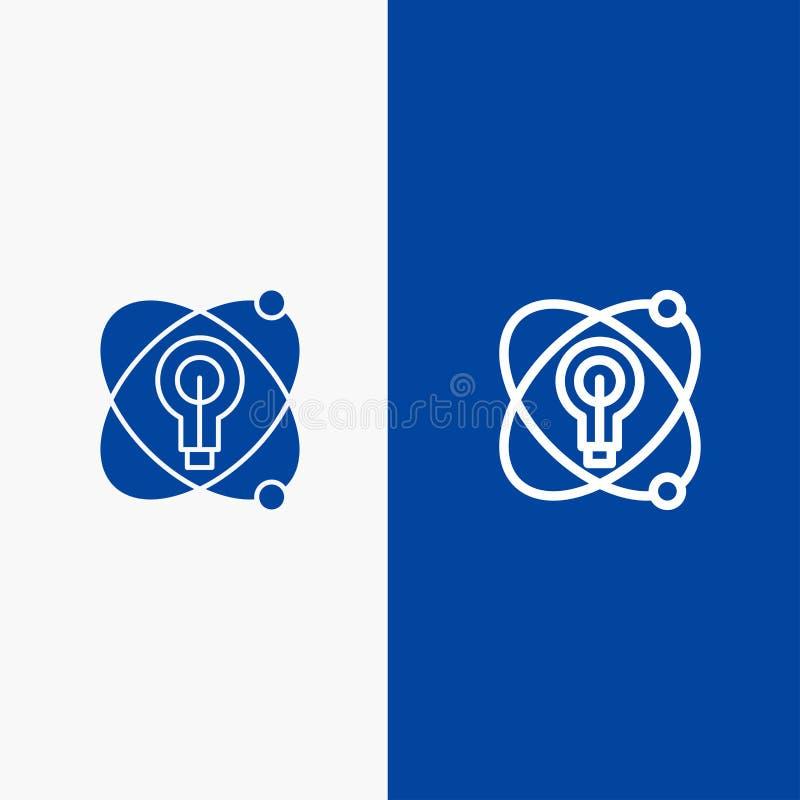 Atoom, Onderwijs, Kern, Bollijn en Stevige het pictogram Blauwe banner van Glyph vector illustratie