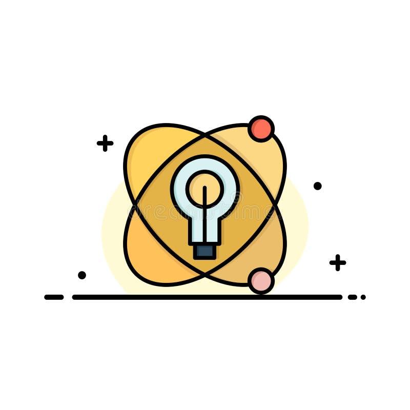 Atoom, Onderwijs, Kern, Bolzaken Logo Template vlakke kleur stock illustratie