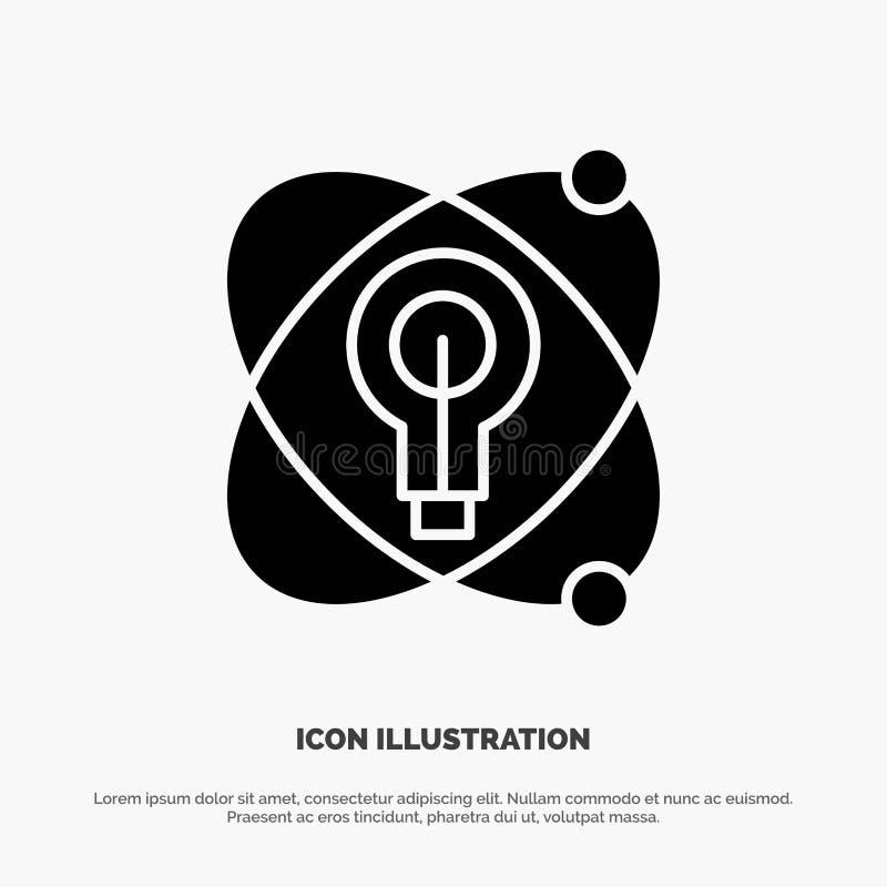 Atoom, Onderwijs, Kern, Pictogram van Bol het Stevige Zwarte Glyph stock illustratie