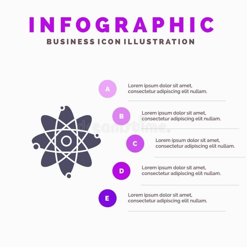 Atoom, Onderwijs, Kern Stevig Pictogram Infographics 5 de Achtergrond van de Stappenpresentatie royalty-vrije illustratie