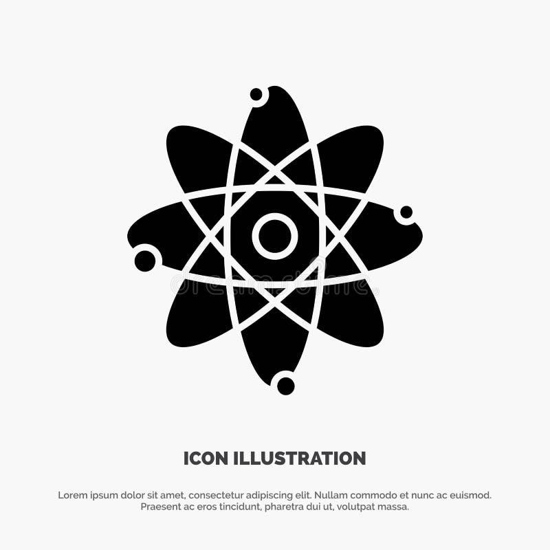 Atoom, Onderwijs, Kern stevige Glyph-Pictogramvector royalty-vrije illustratie
