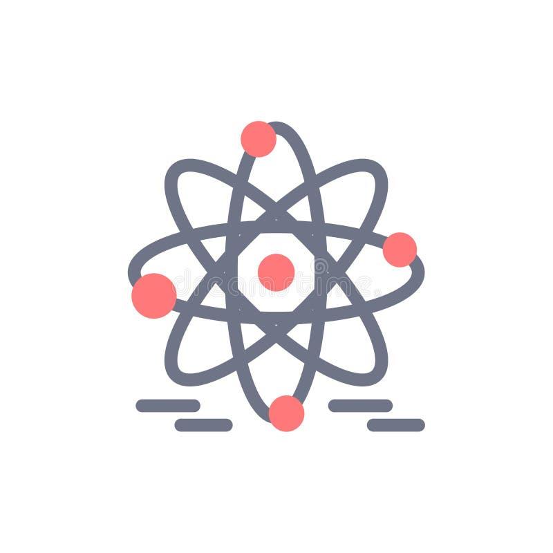 Atoom, Onderwijs, Kern Vlak Kleurenpictogram Het vectormalplaatje van de pictogrambanner royalty-vrije illustratie