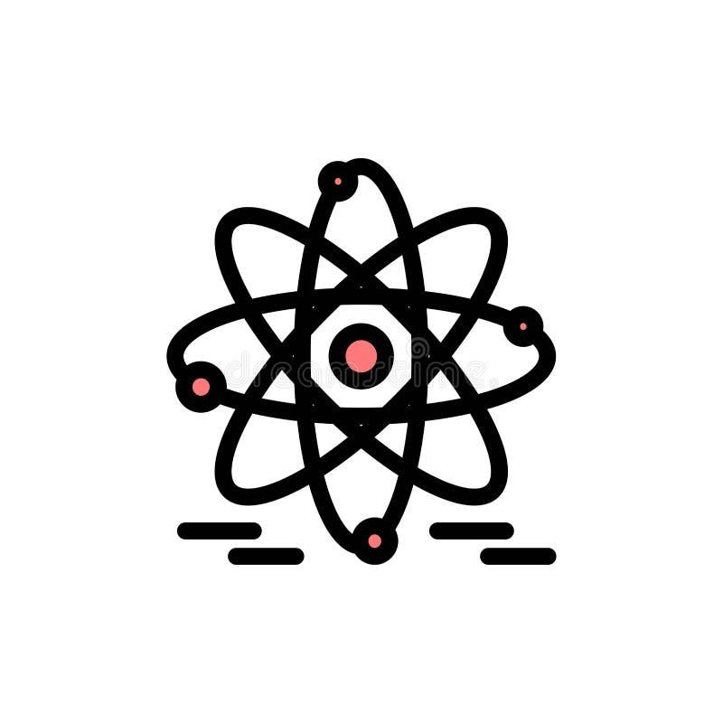 Atoom, Onderwijs, Kern Vlak Kleurenpictogram Het vectormalplaatje van de pictogrambanner vector illustratie