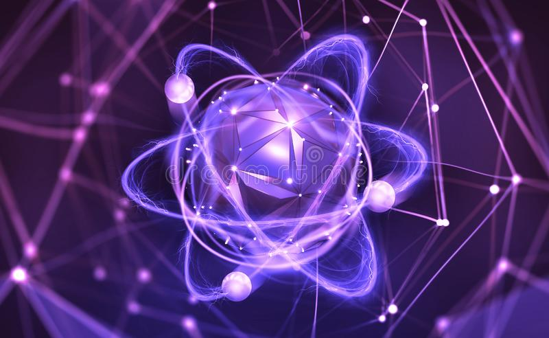 Atoom structuur Futuristisch Concept Nanotechnologie van toekomst stock illustratie