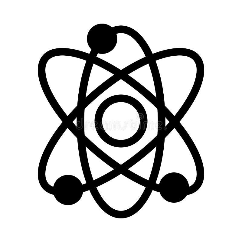 Atoom vectorpictogram Zwart-witte illustratie van wetenschap Stevig lineair atoompictogram stock illustratie