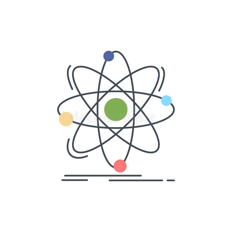 Atoom, wetenschap, chemie, Fysica, de kern Vlakke Vector van het Kleurenpictogram vector illustratie