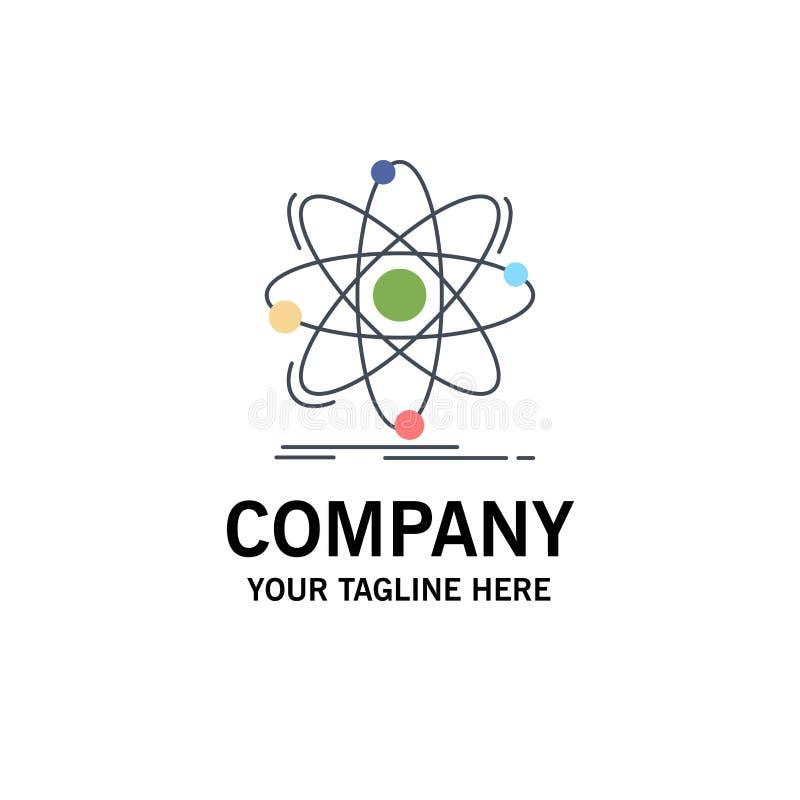 Atoom, wetenschap, chemie, Fysica, de kern Vlakke Vector van het Kleurenpictogram stock illustratie