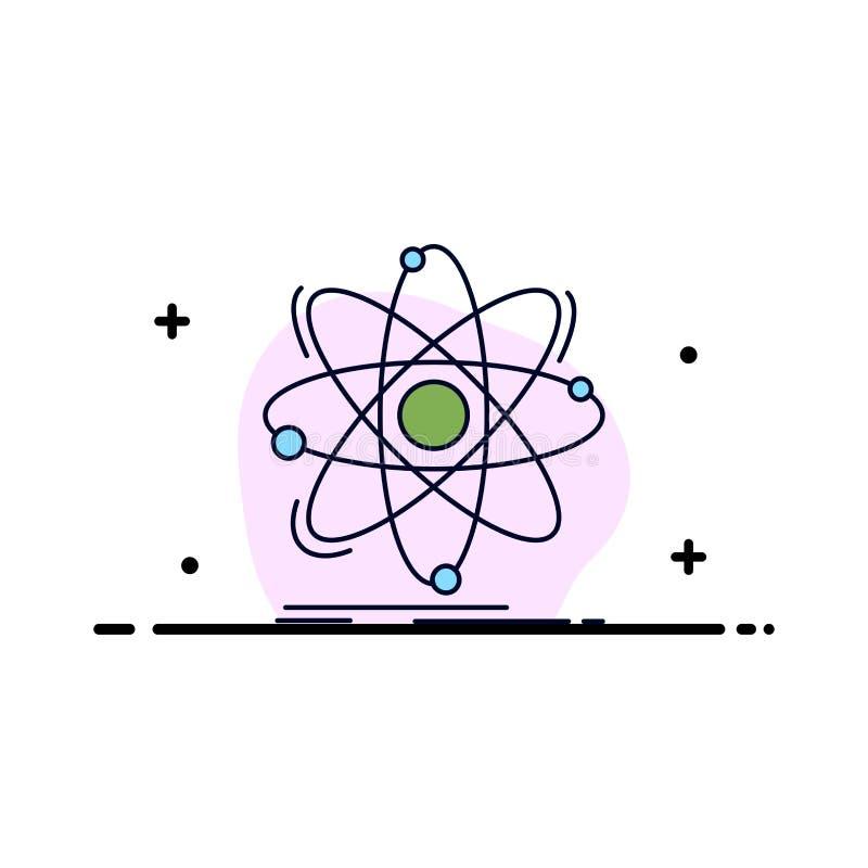 Atoom, wetenschap, chemie, Fysica, de kern Vlakke Vector van het Kleurenpictogram royalty-vrije illustratie