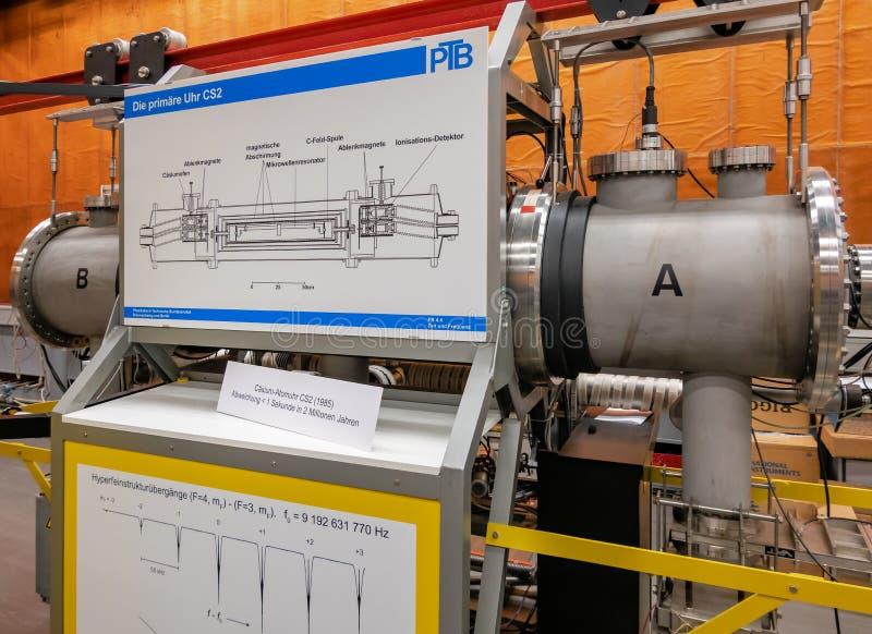 Atoomdieklok Cs-2 op caesium in het PTB-laboratorium wordt gebaseerd, nauwkeurigheid 1 tweede in 2 miljoen jaar royalty-vrije stock fotografie