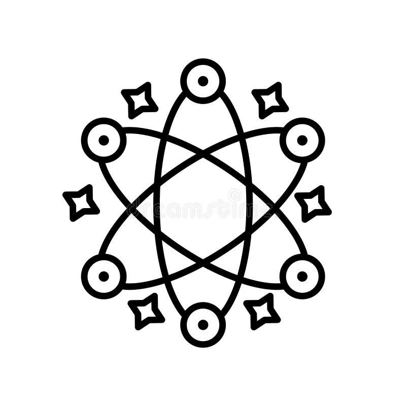 Atoomdiepictogramvector op witte achtergrond, Atoomteken, de dunne elementen van het lijnontwerp in overzichtsstijl wordt geïsole royalty-vrije illustratie