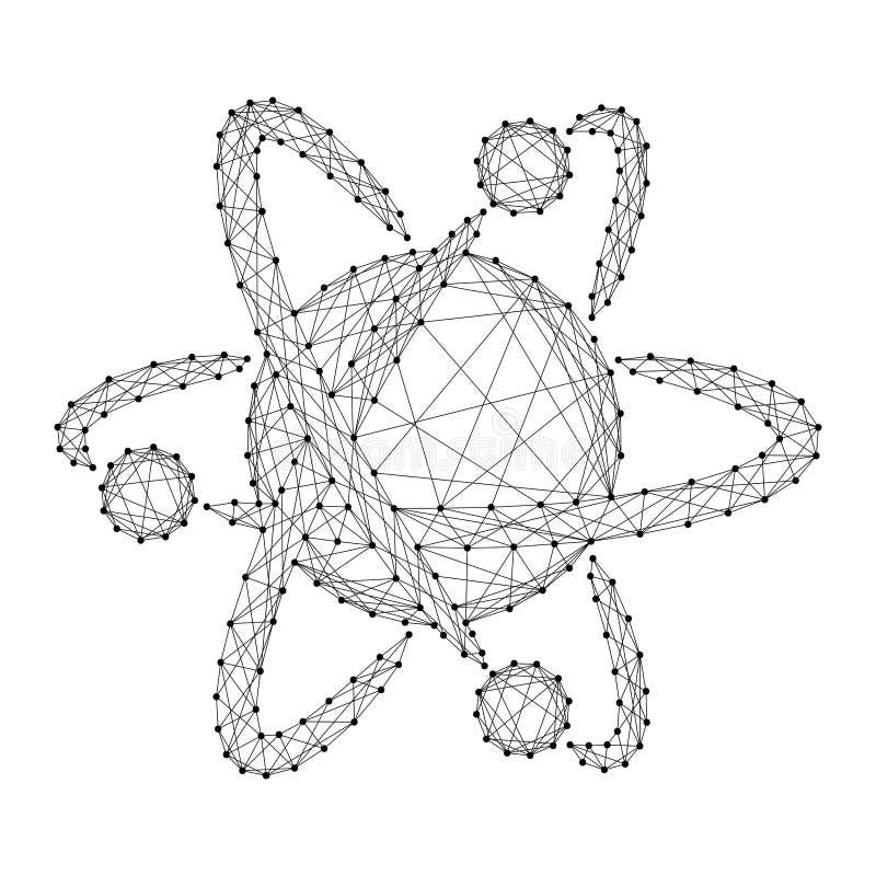 Atoommolecule met banen pictogram-illustratie symboolchemicus stock illustratie