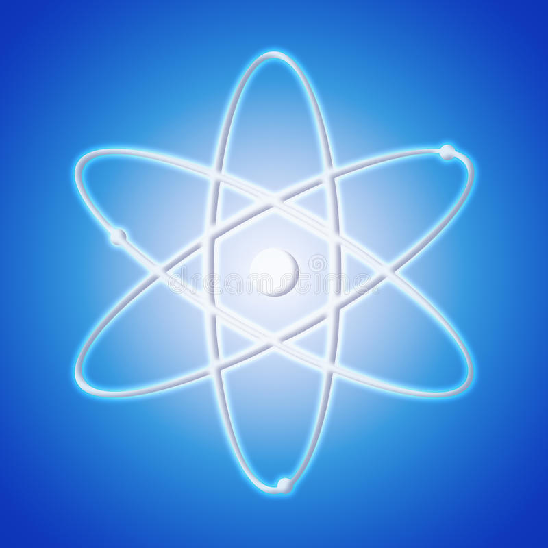 Atoompictogram - het symbool van een wetenschap stock afbeelding