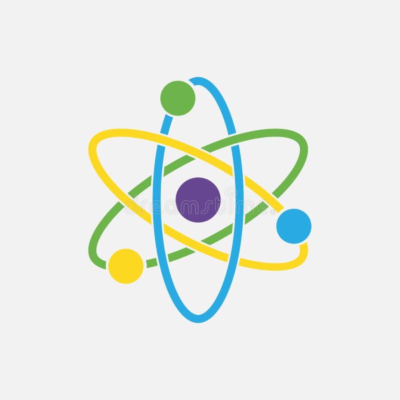 Atoompictogram Kernpictogram Elektronen en protonen Wetenschapsteken royalty-vrije illustratie