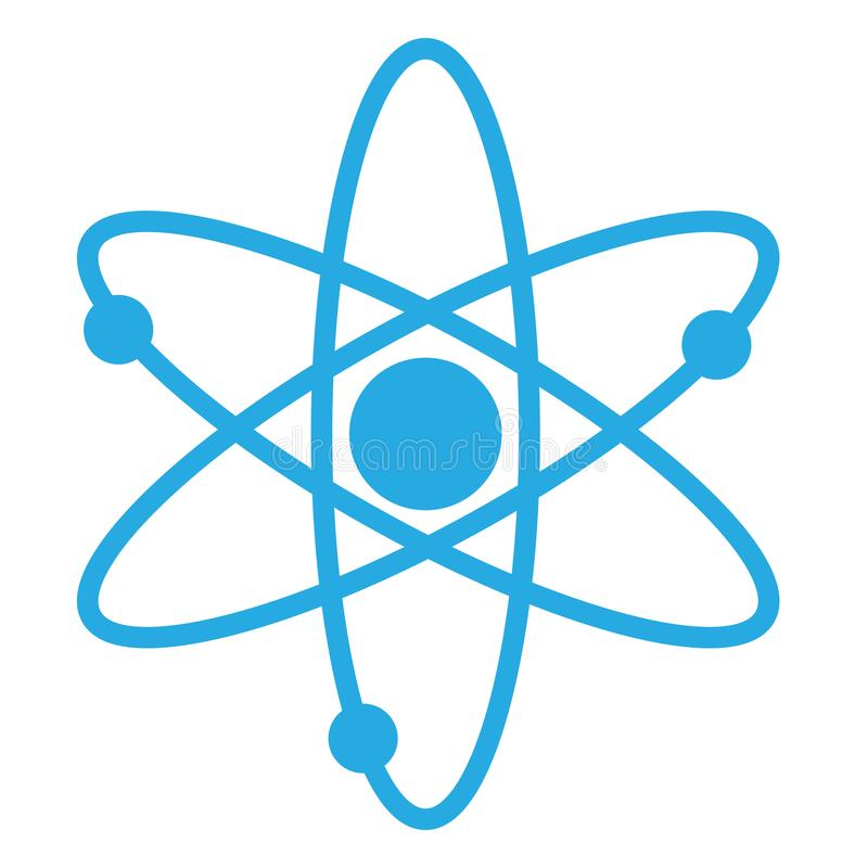 Atoompictogram voor uw websiteontwerp, embleem, app, UI Vlakke stijl atoomteken op witte achtergrond Moleculesymbool kernenergiet royalty-vrije illustratie