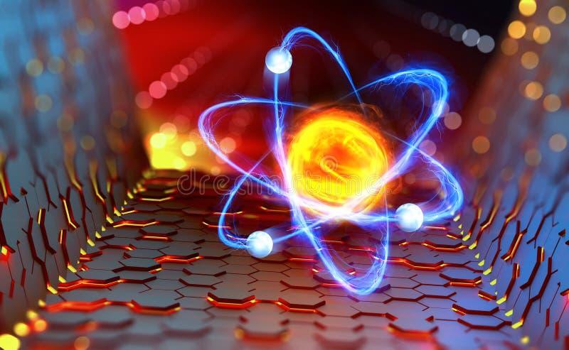 Atoomreactor Experimenten met hadron collider Onderzoek van de structuur van een atoom royalty-vrije illustratie