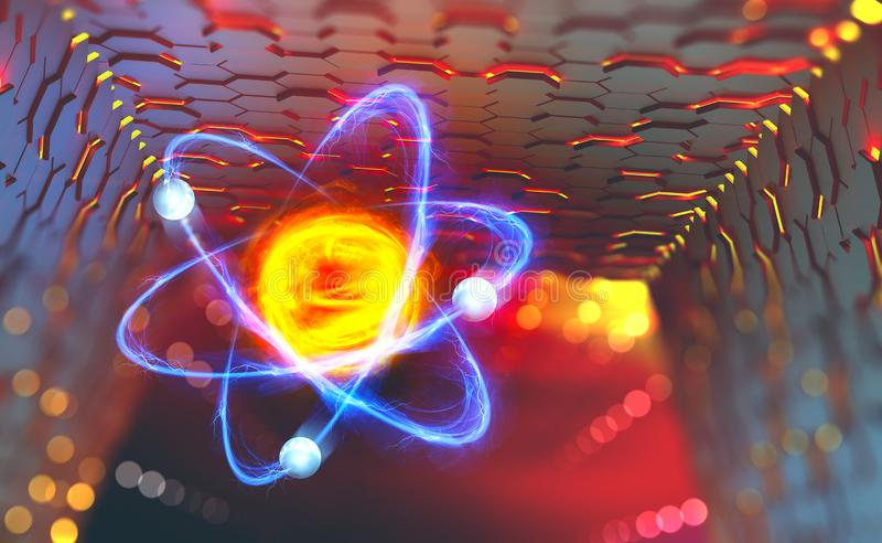 Atoomreactor Experimenten met hadron collider vector illustratie