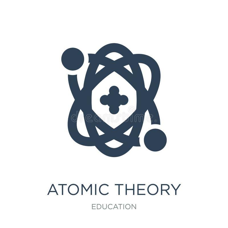 atoomtheoriepictogram in in ontwerpstijl atoomdietheoriepictogram op witte achtergrond wordt geïsoleerd atoom eenvoudig theorie v stock illustratie