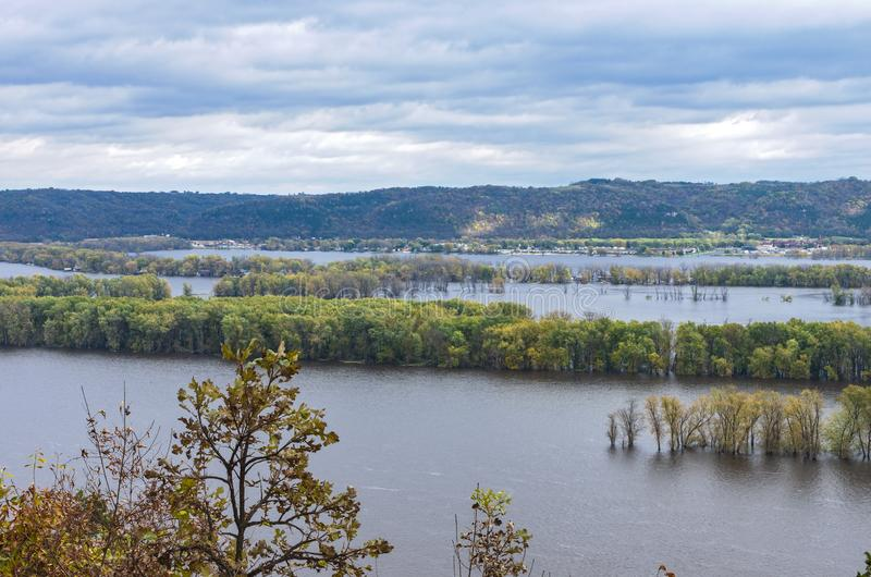 Atop Bluffs of Effigy Mounds at Iowa Border. Overlooking mississippi river from atop bluff of effigy mounds national monument along iowa wisconsin border stock photos