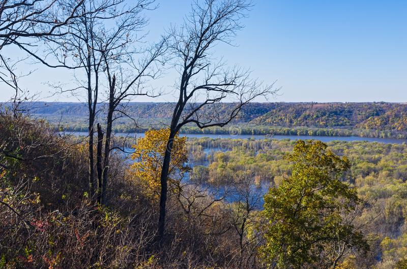 Atop Bluffs of Wyalusing and Mississippi River. Mississippi river valley from bluffs of wyalusing state park in driftless area of wisconsin along iowa border, i stock photos