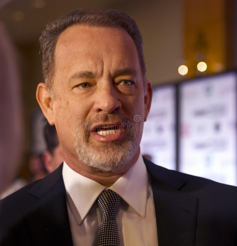 Ator americano Tom Hanks e sua esposa Rita Wilson fotos de stock royalty free