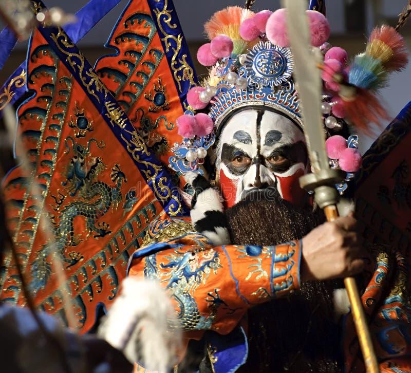 Ator da ópera de China com pintura facial fotografia de stock