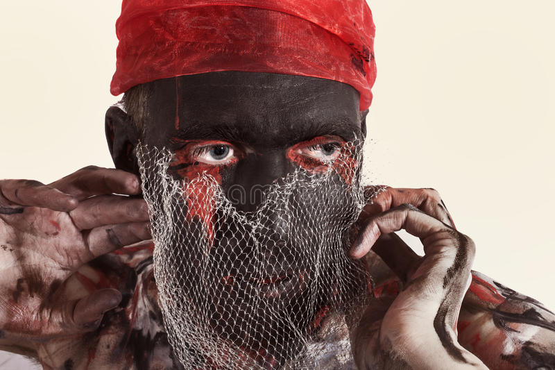 Ator do teatro com composição preta em sua cara imagens de stock