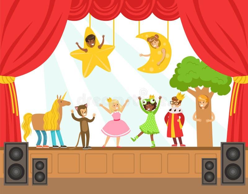 Atores das crianças que executam o conto de fadas na fase na ilustração colorida do vetor da mostra do talento com os alunos tale ilustração stock