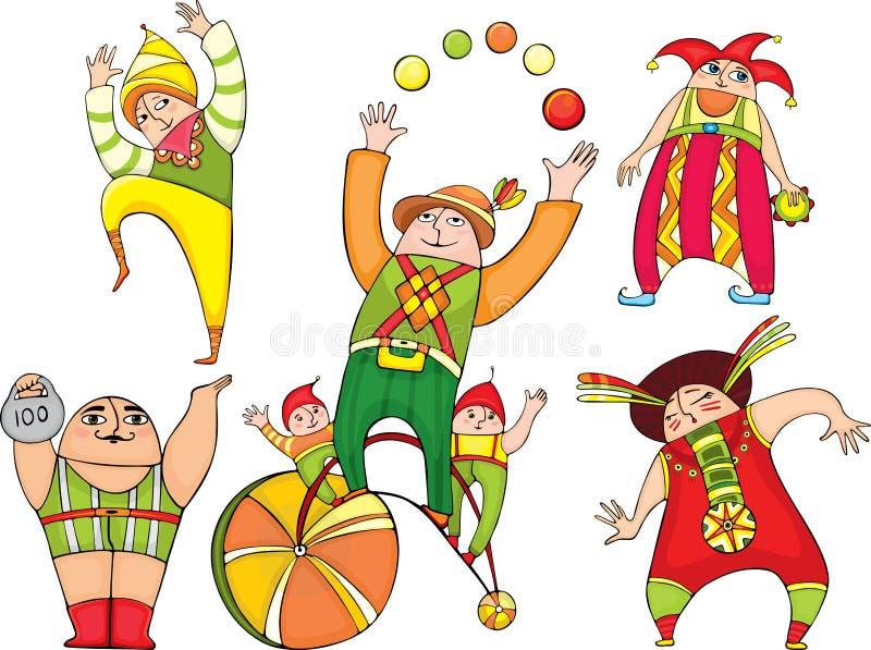 Atores do circo ajustados ilustração stock