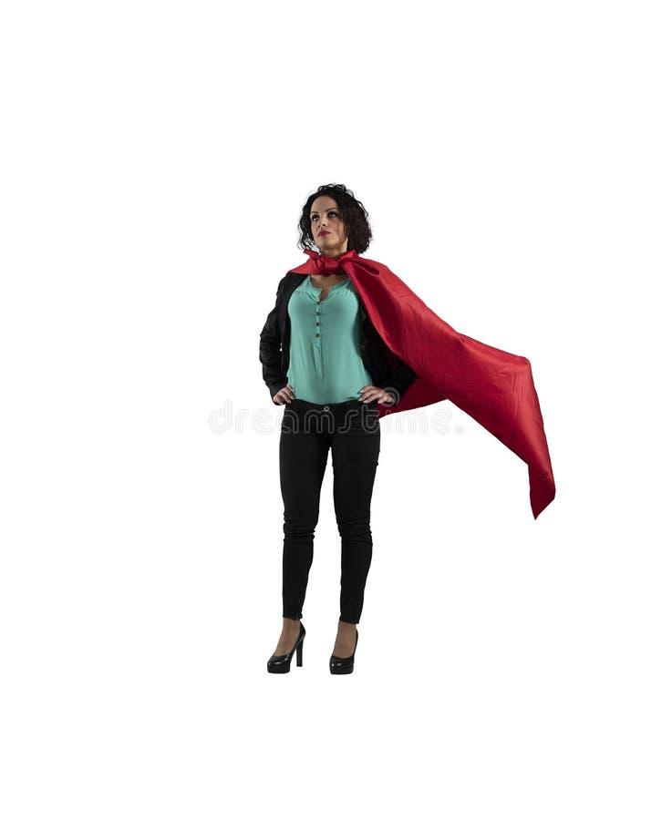 Atos bem sucedidos da mulher de negócios como um super-herói Isolado no fundo branco fotografia de stock royalty free