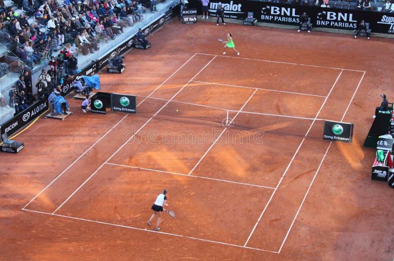 ATP 2010 de Roma del tenis - mujeres del emparejamiento final imágenes de archivo libres de regalías