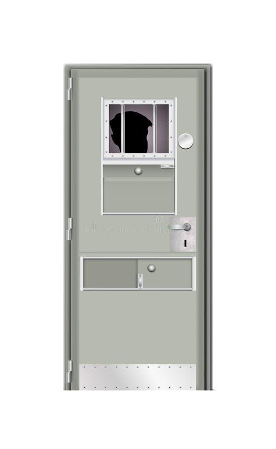 Atrás da porta homem encarcerado Prisão cinzenta moderna da porta Atrás das barras na cadeia, homem da sombra no fundo escuro Vet ilustração royalty free