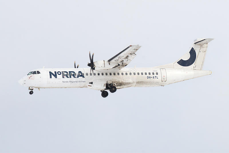Download ATR 72-500 OH-ATL Airlines Nordic Regional Airlines In A Cloudy Sky Before Landing In Pulkovo Airport Editorial Stock Photo - Image of desolate, flight: 90648198