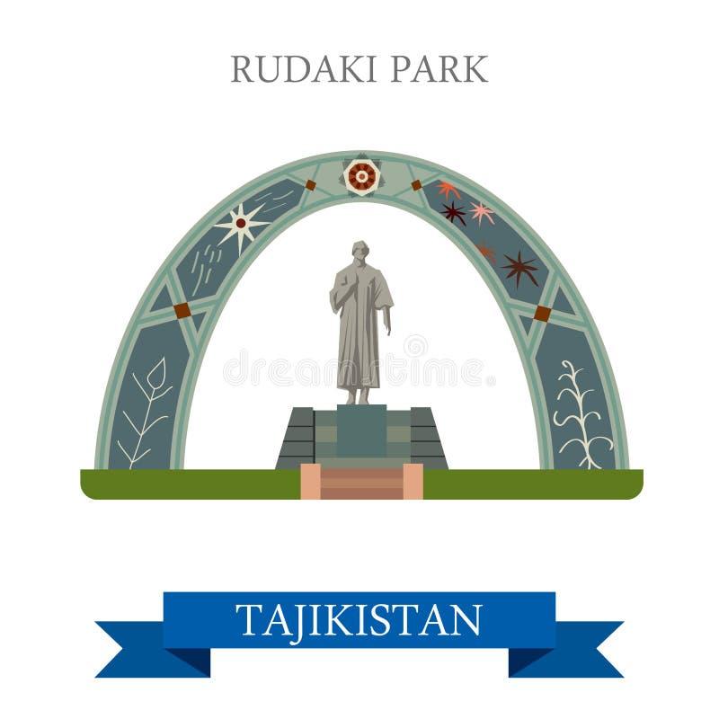 Atração lisa do vetor de Park Dushanbe Tajikistan do poeta de Rudaki ilustração royalty free