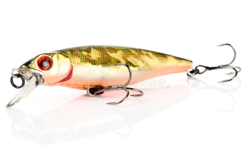 Atração plástica da pesca (wobbler) isolada no branco foto de stock royalty free