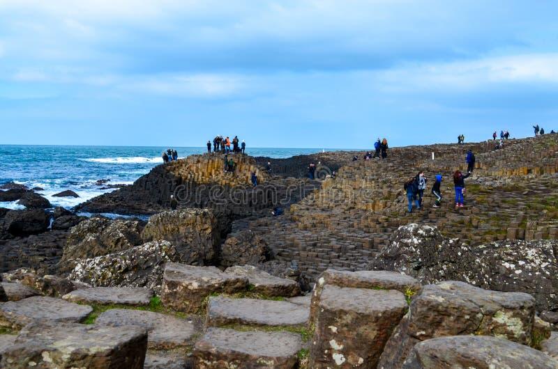 Atração sextavada vulcânica da maravilha do unesco de Irlanda do Norte Reino Unido do penhasco das pedras das rochas da costa da  fotografia de stock